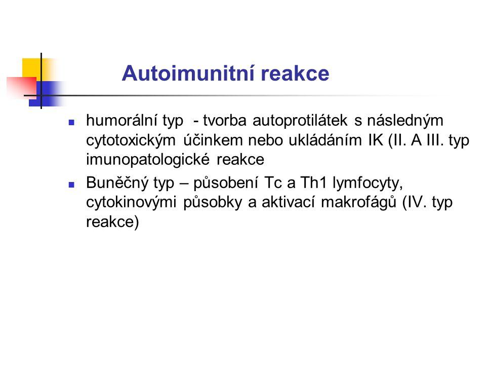 Autoimunitní reakce humorální typ - tvorba autoprotilátek s následným cytotoxickým účinkem nebo ukládáním IK (II. A III. typ imunopatologické reakce.