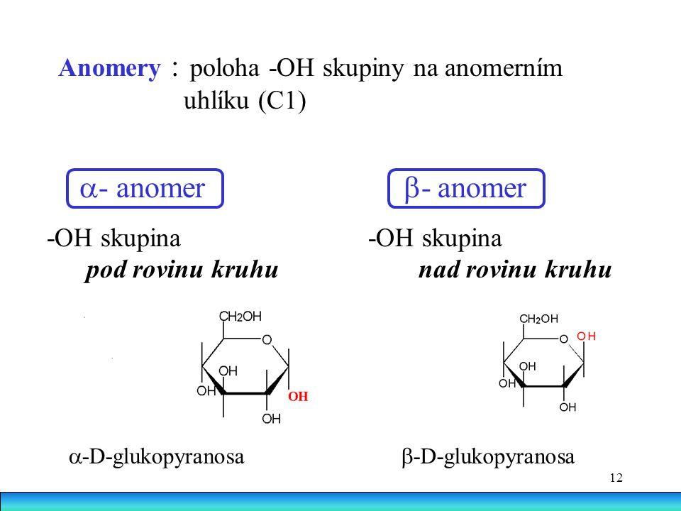 a- anomer b- anomer Anomery : poloha -OH skupiny na anomerním