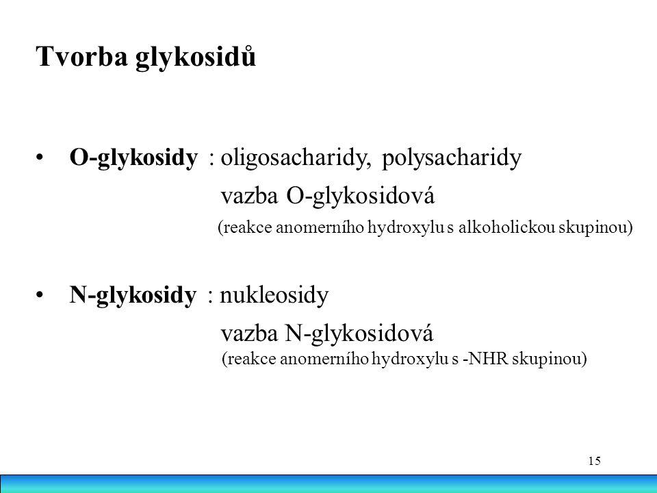 Tvorba glykosidů • O-glykosidy : oligosacharidy, polysacharidy