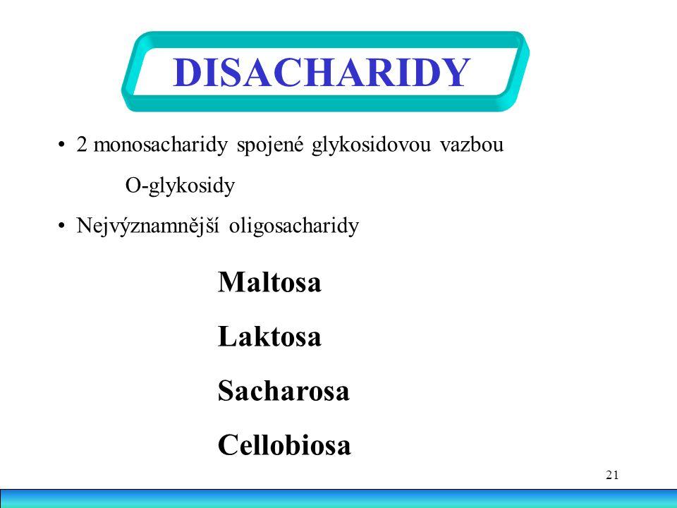 DISACHARIDY Maltosa Laktosa Sacharosa Cellobiosa