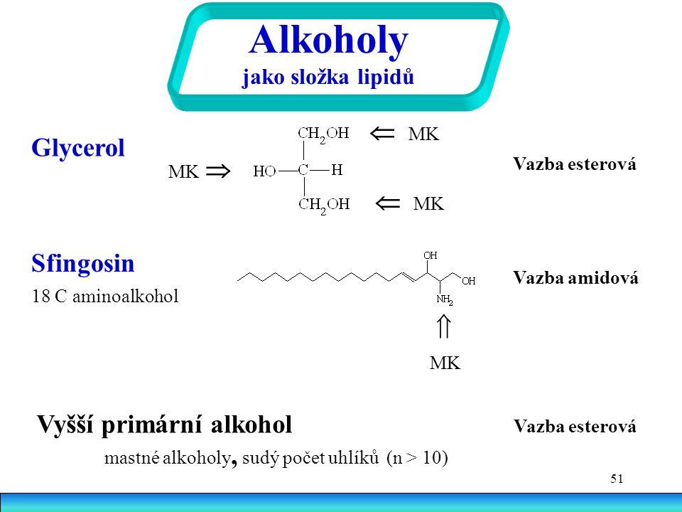 Vyšší primární alkohol Vazba esterová