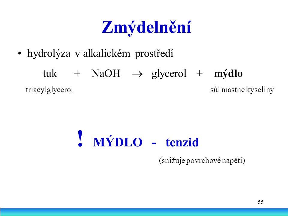 ! MÝDLO - tenzid Zmýdelnění • hydrolýza v alkalickém prostředí