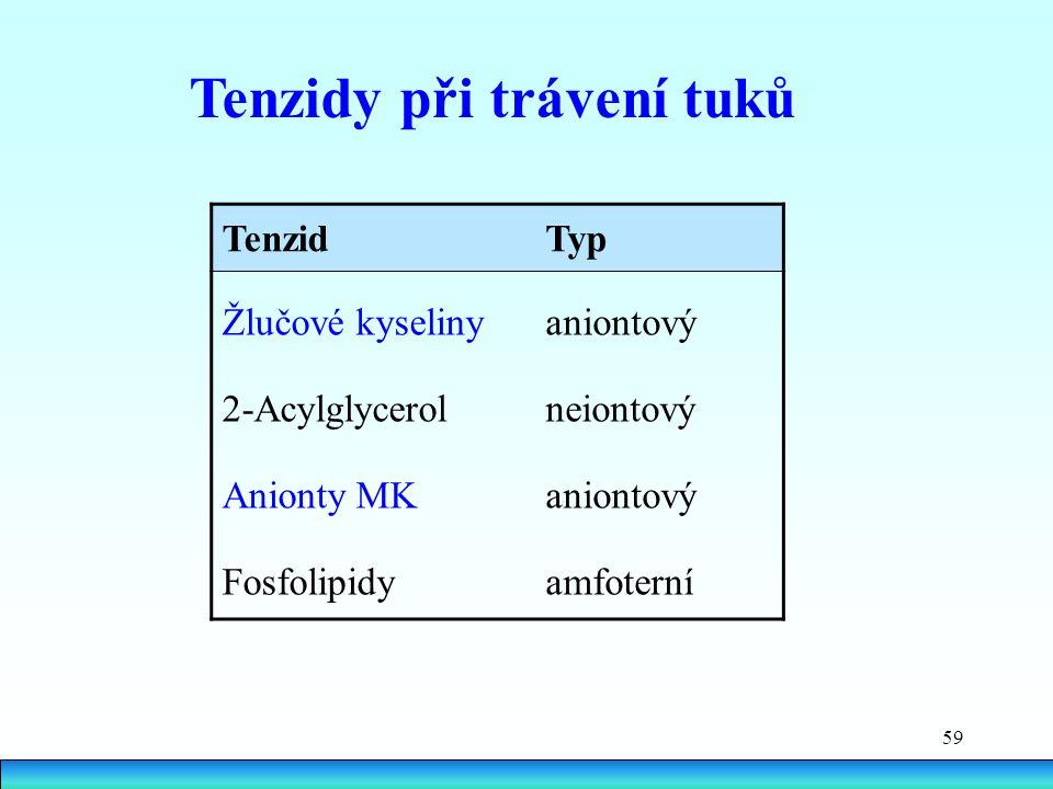 Tenzidy při trávení tuků
