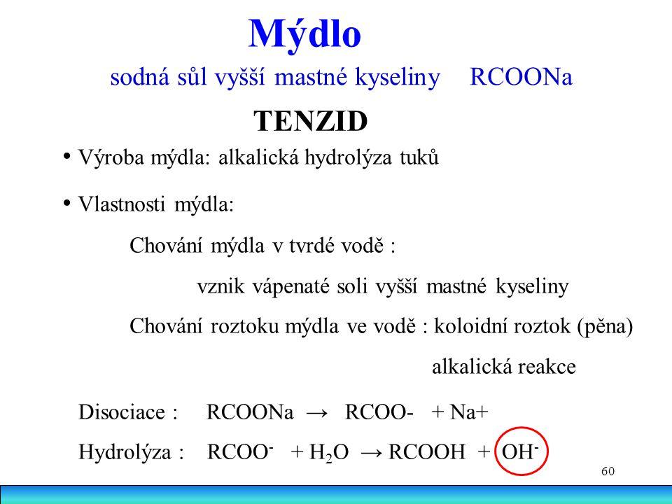 Mýdlo TENZID sodná sůl vyšší mastné kyseliny RCOONa