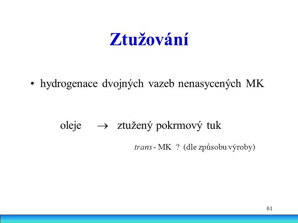 Ztužování • hydrogenace dvojných vazeb nenasycených MK