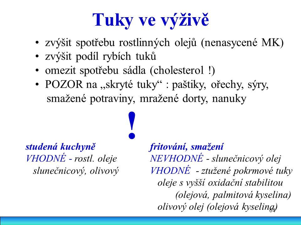 ! Tuky ve výživě • zvýšit spotřebu rostlinných olejů (nenasycené MK)