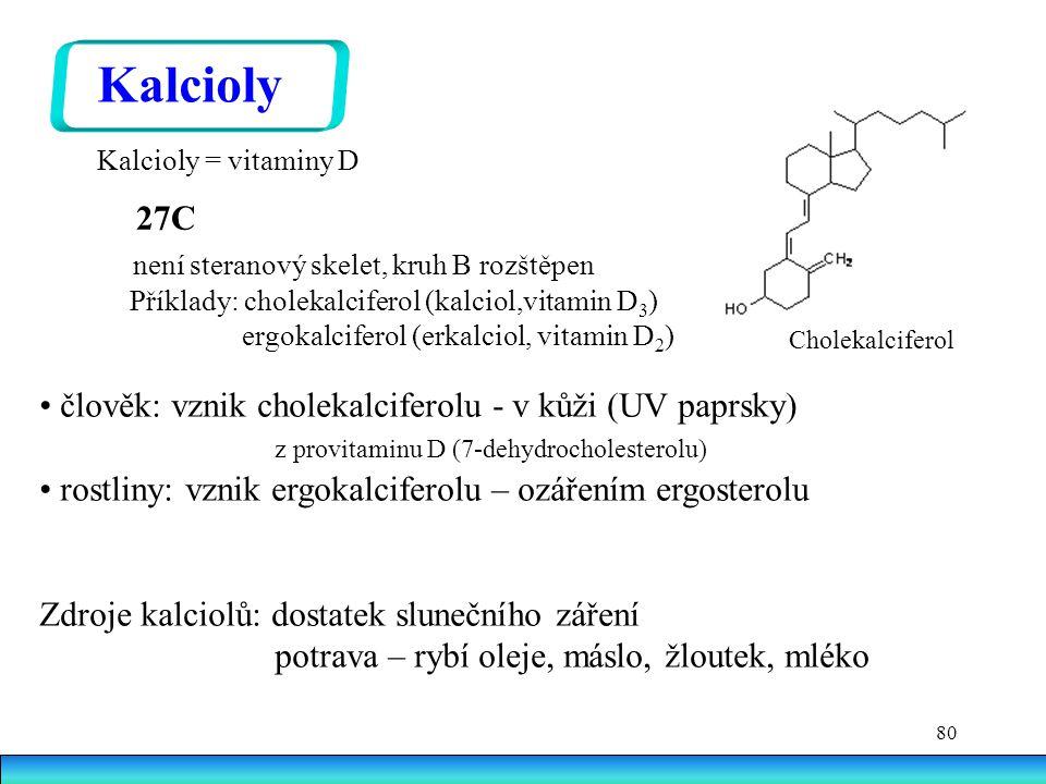 Kalcioly 27C není steranový skelet, kruh B rozštěpen