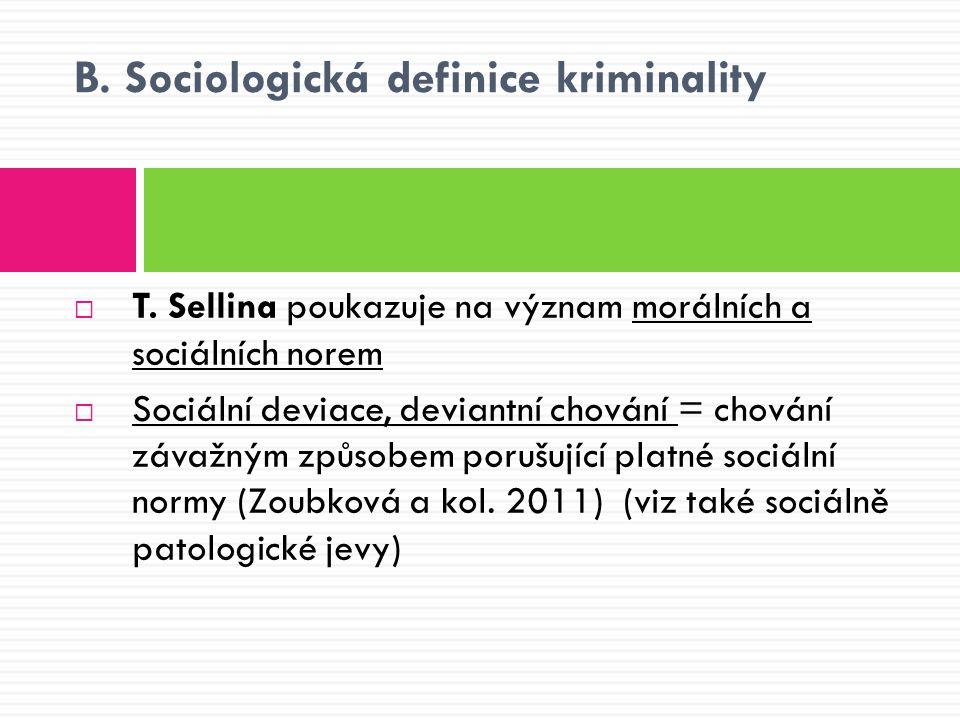 B. Sociologická definice kriminality