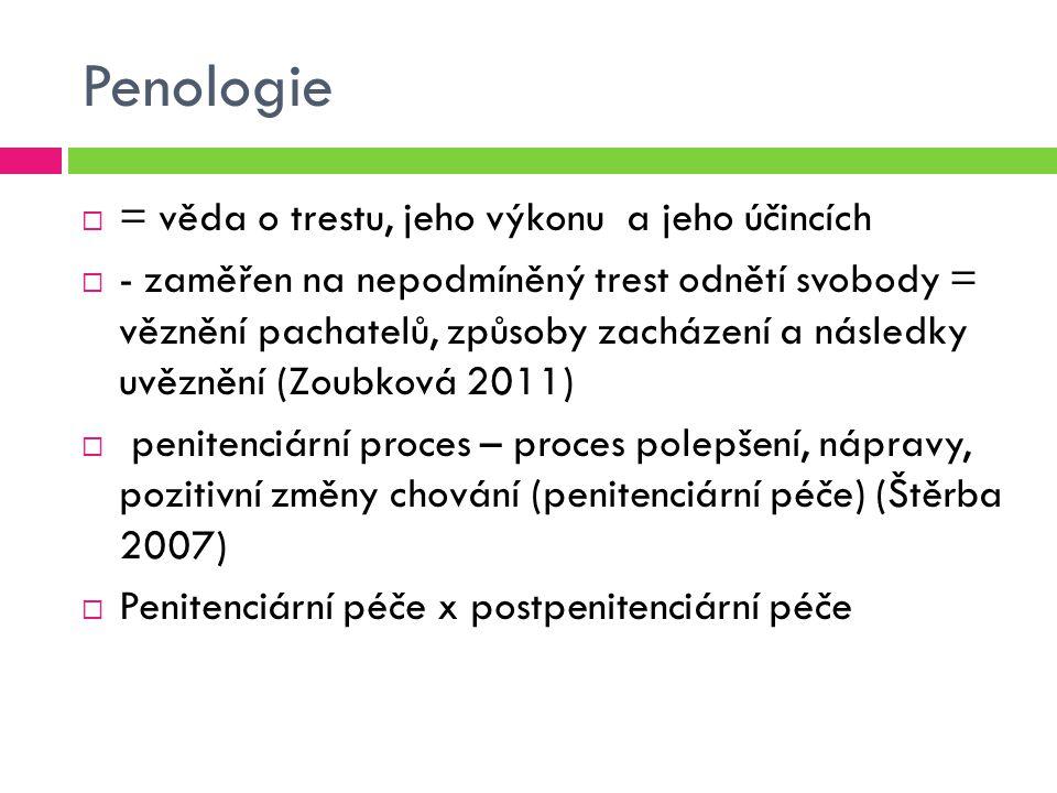 Penologie = věda o trestu, jeho výkonu a jeho účincích