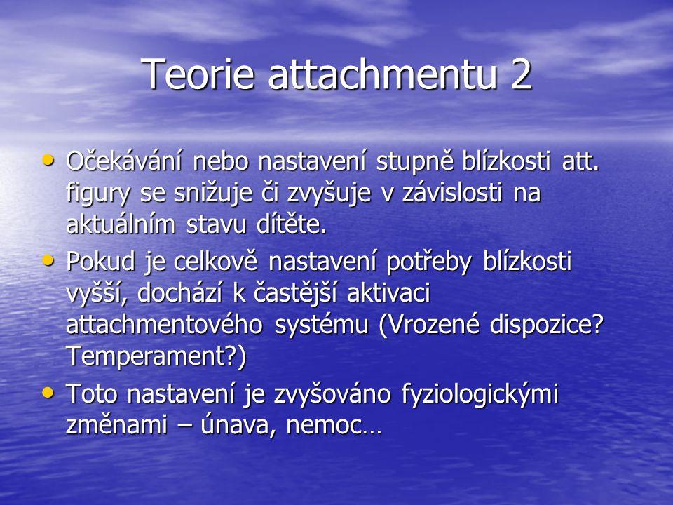 Teorie attachmentu 2 Očekávání nebo nastavení stupně blízkosti att. figury se snižuje či zvyšuje v závislosti na aktuálním stavu dítěte.