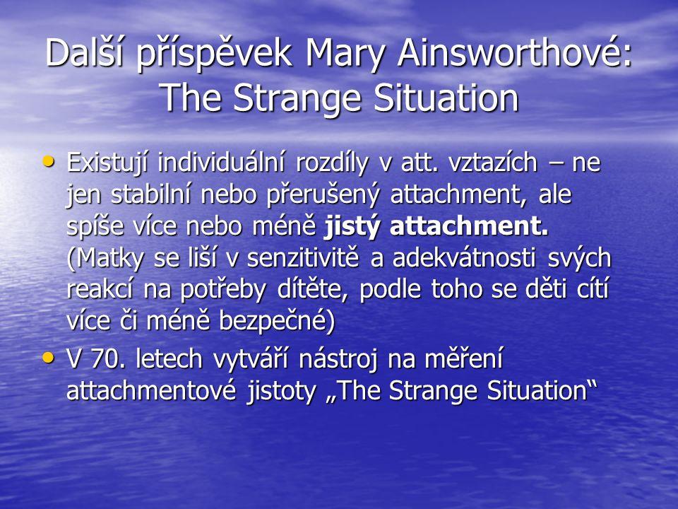 Další příspěvek Mary Ainsworthové: The Strange Situation