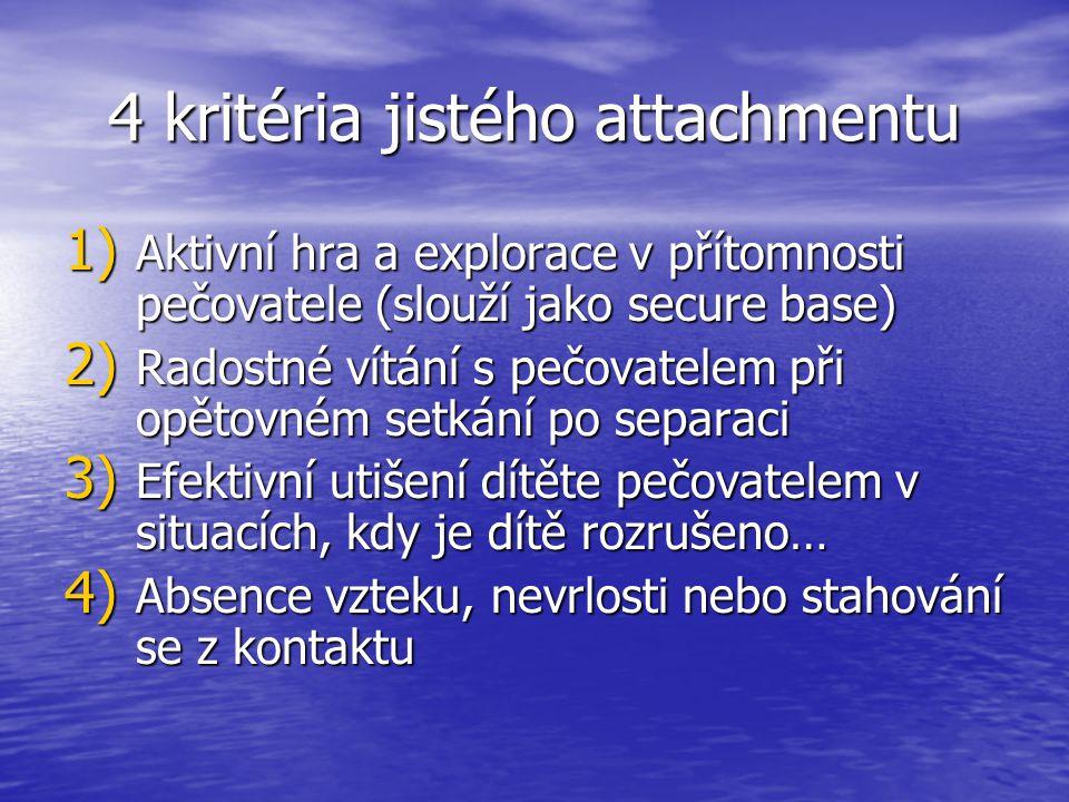 4 kritéria jistého attachmentu