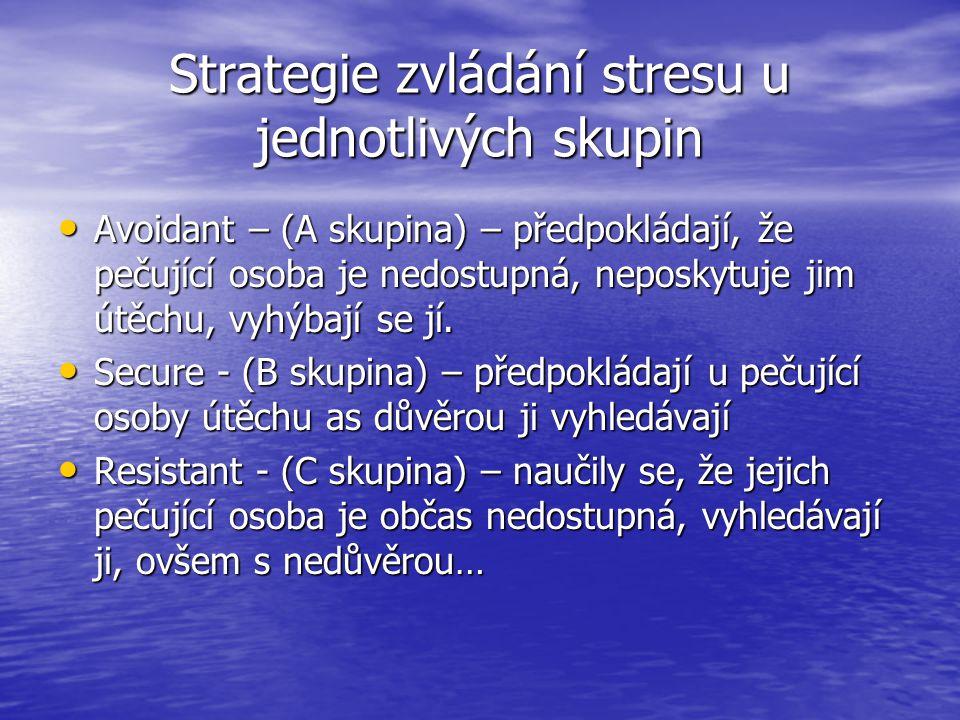 Strategie zvládání stresu u jednotlivých skupin