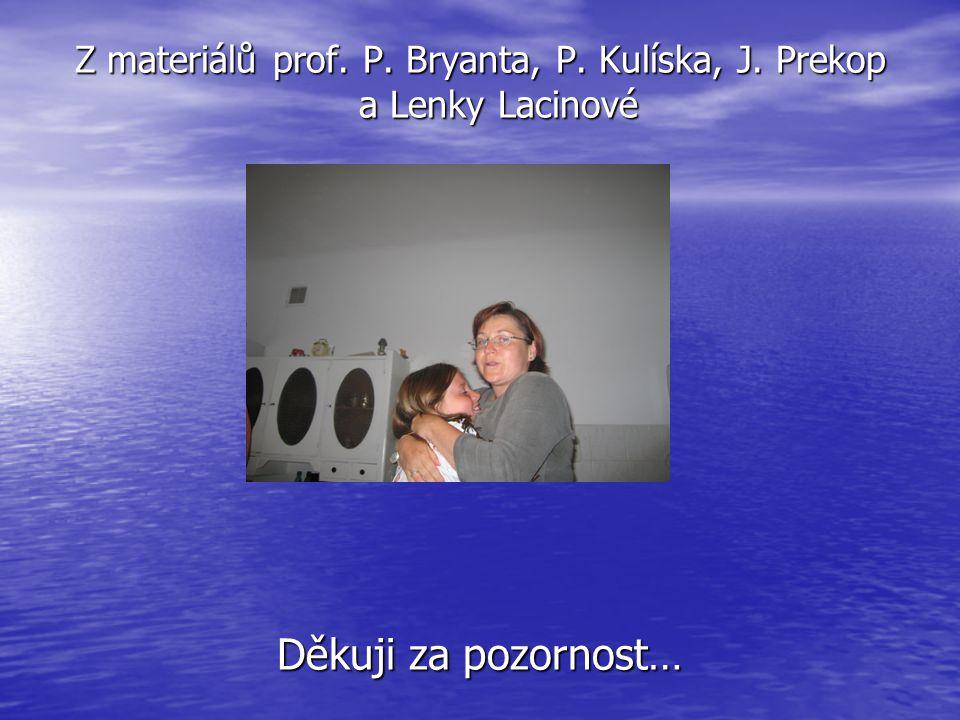 Z materiálů prof. P. Bryanta, P. Kulíska, J. Prekop a Lenky Lacinové