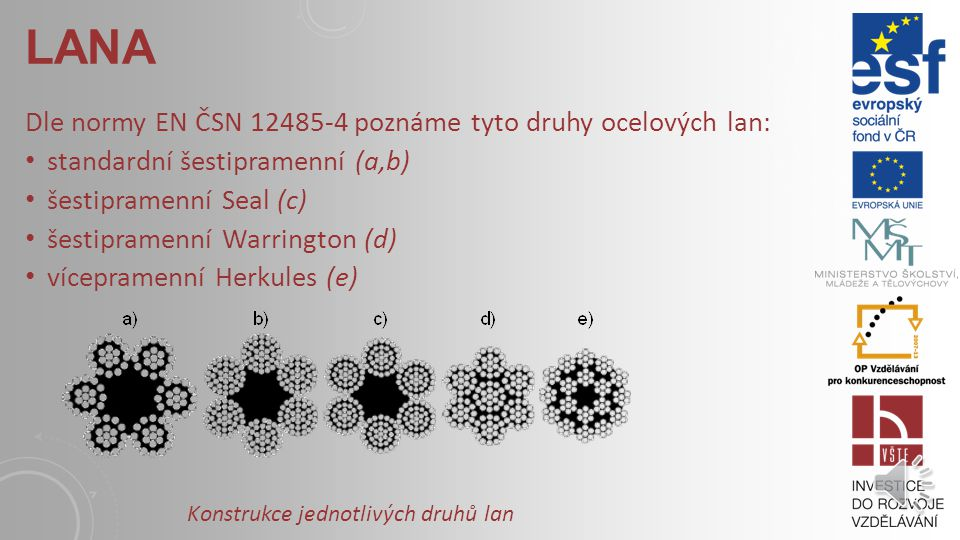 Lana Dle normy EN ČSN 12485-4 poznáme tyto druhy ocelových lan: