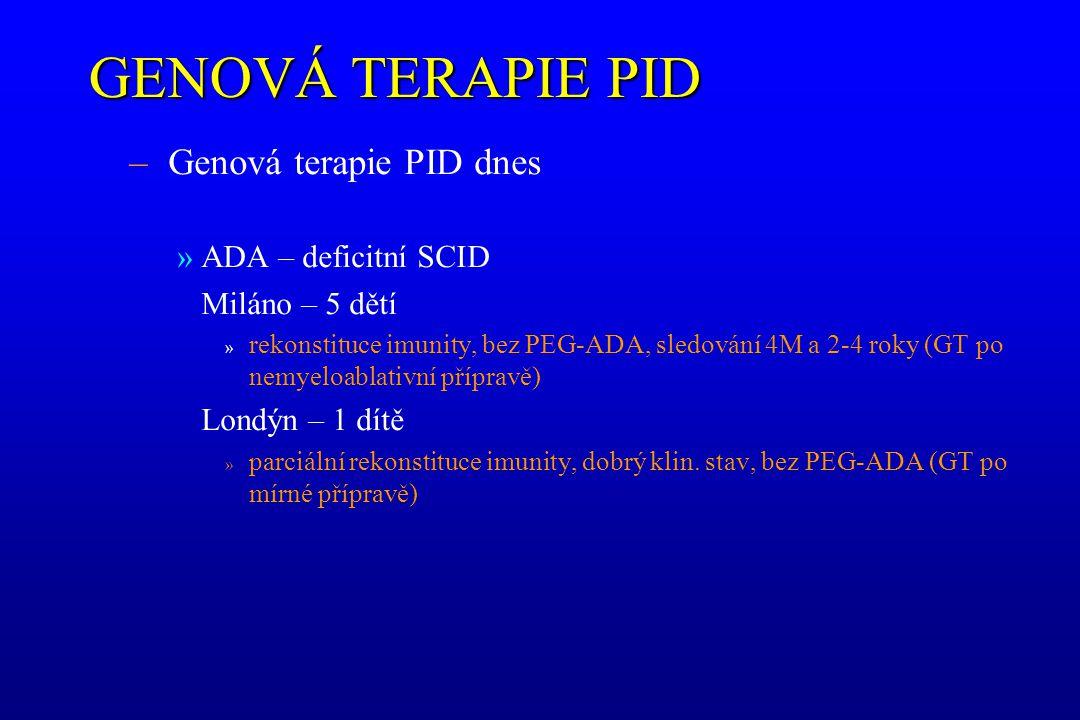 GENOVÁ TERAPIE PID Genová terapie PID dnes ADA – deficitní SCID