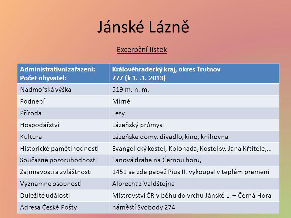 Jánské Lázně Excerpční lístek Administrativní zařazení: