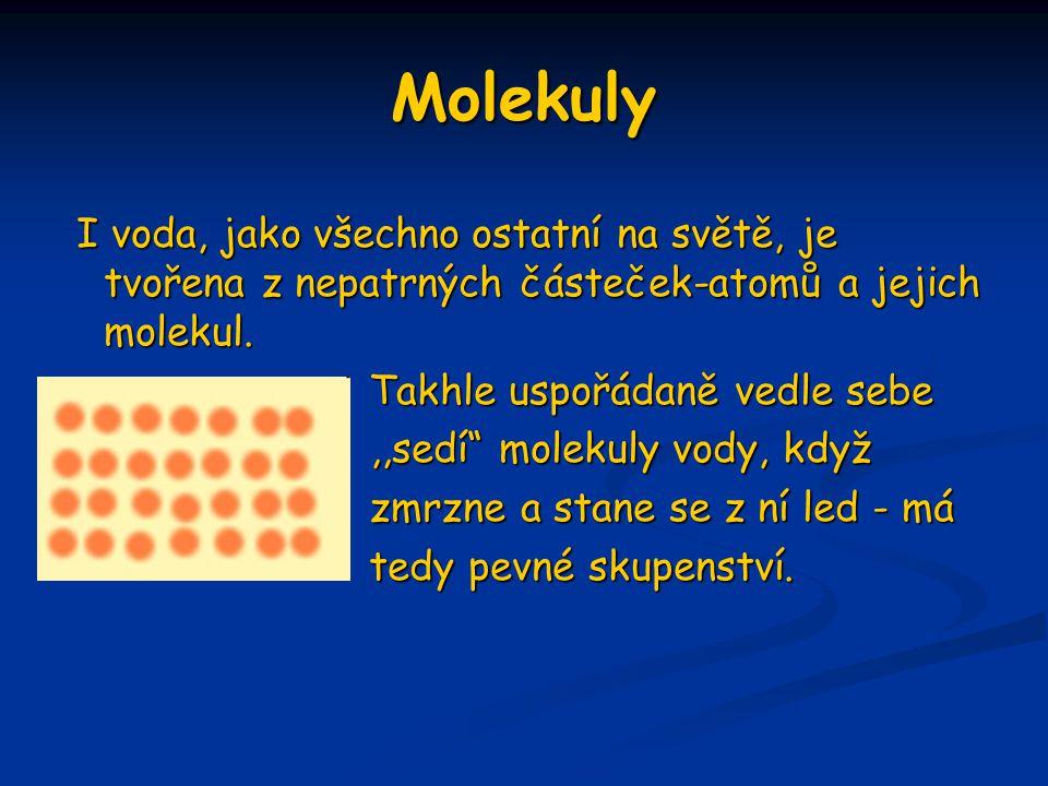 Molekuly I voda, jako všechno ostatní na světě, je tvořena z nepatrných částeček-atomů a jejich molekul.