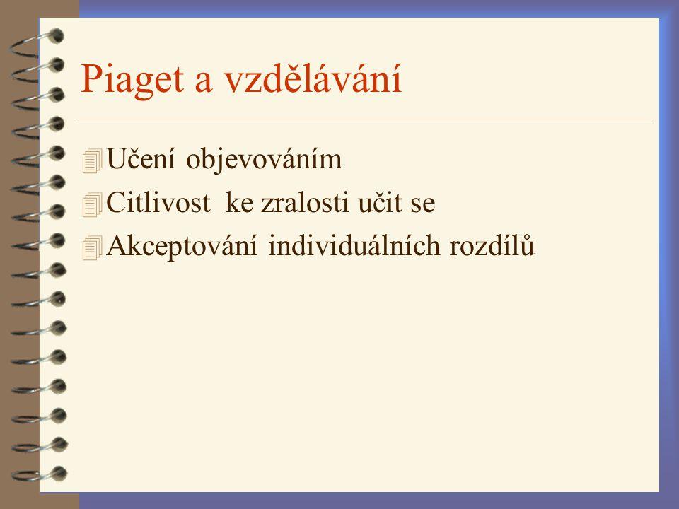 Piaget a vzdělávání Učení objevováním Citlivost ke zralosti učit se