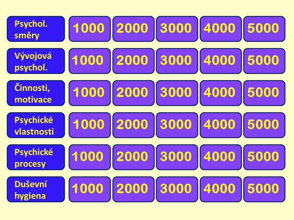 Psychol. směry. 1000. 2000. 3000. 4000. 5000. Vývojová. psychol. 1000. 2000. 3000. 4000.