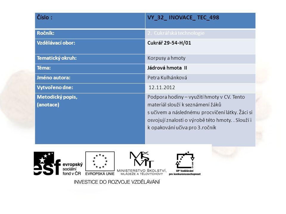 Číslo : VY_32_ INOVACE_ TEC_498 Ročník: 2. Cukrářská technologie