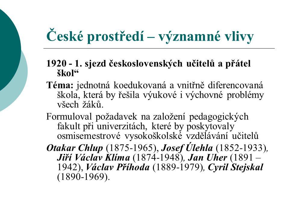 České prostředí – významné vlivy