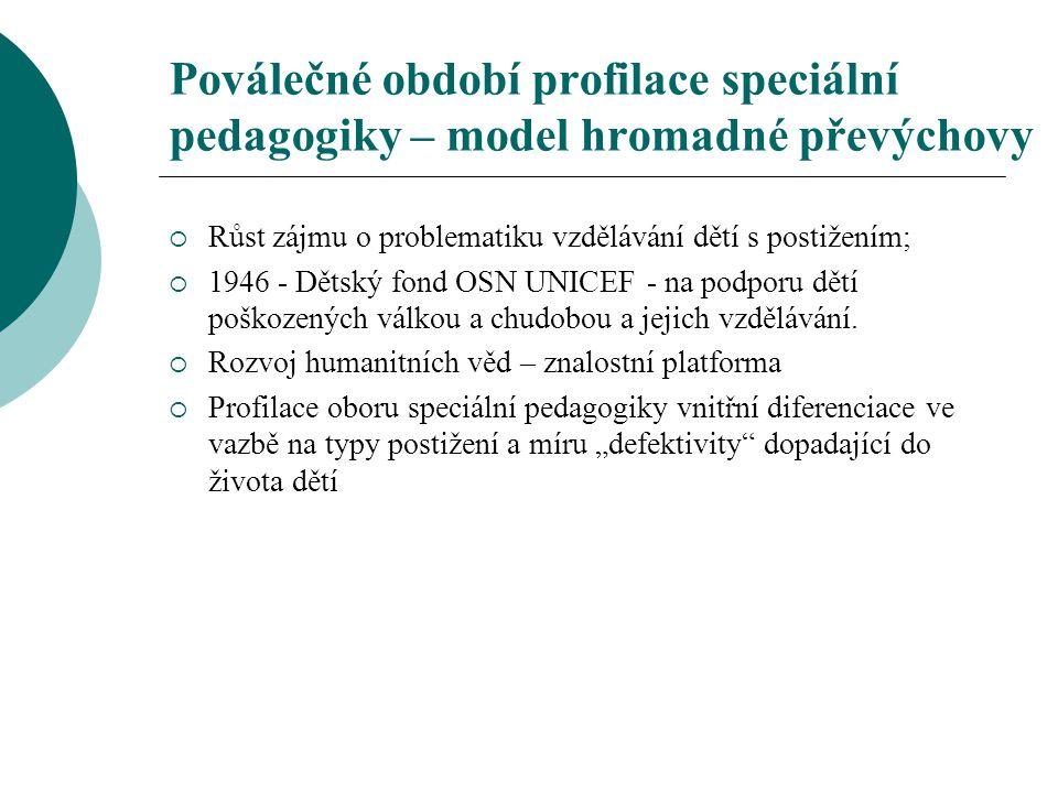 Poválečné období profilace speciální pedagogiky – model hromadné převýchovy