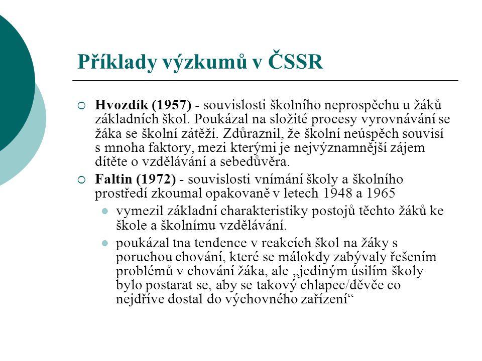 Příklady výzkumů v ČSSR