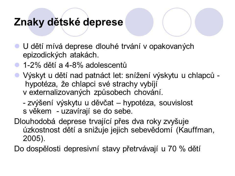 Znaky dětské deprese U dětí mívá deprese dlouhé trvání v opakovaných epizodických atakách. 1-2% dětí a 4-8% adolescentů.