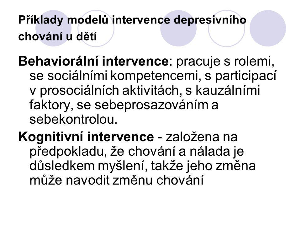 Příklady modelů intervence depresivního chování u dětí