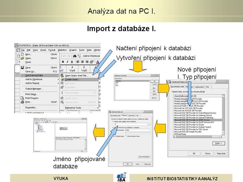 Import z databáze I. Načtení připojení k databázi