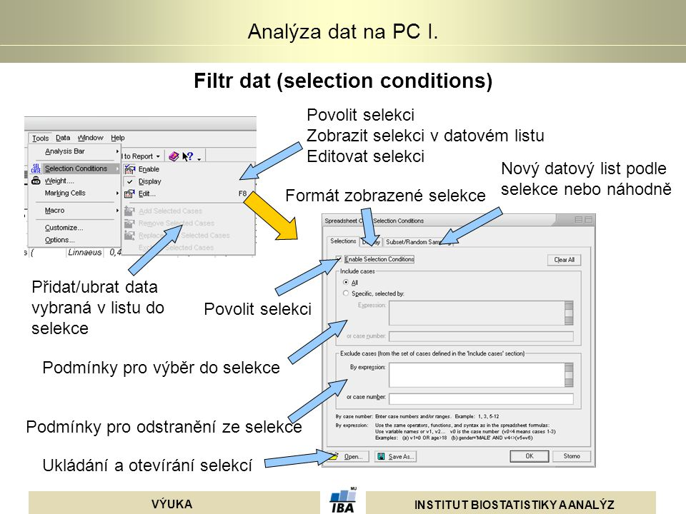 Filtr dat (selection conditions)