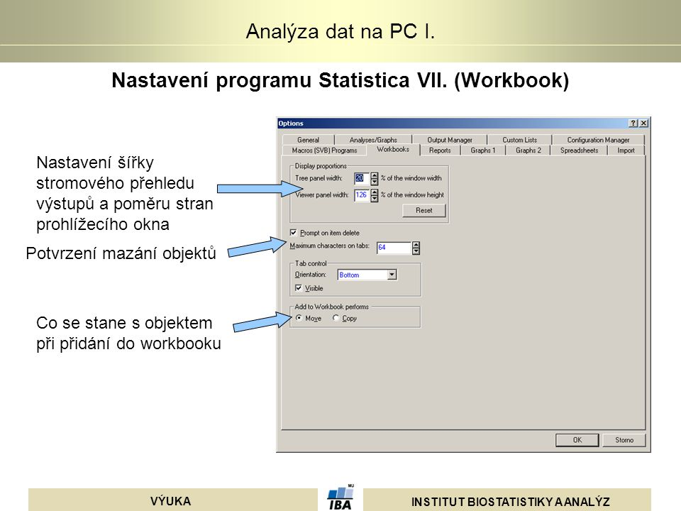 Nastavení programu Statistica VII. (Workbook)