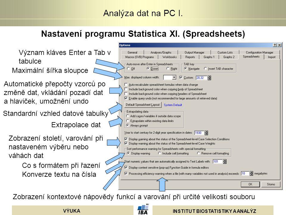 Nastavení programu Statistica XI. (Spreadsheets)