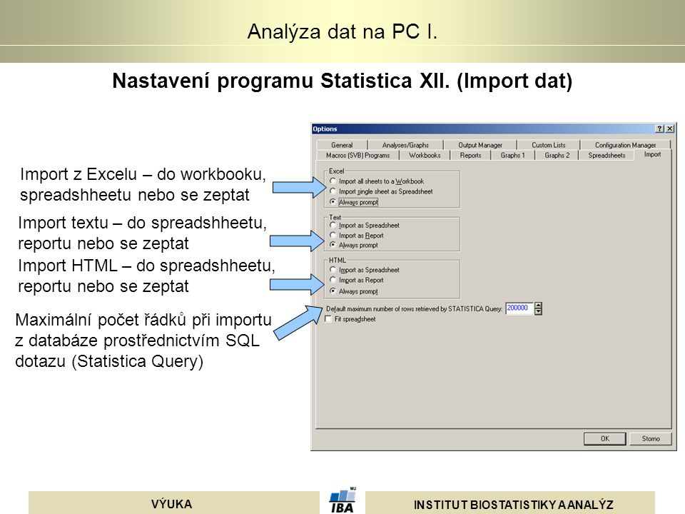 Nastavení programu Statistica XII. (Import dat)