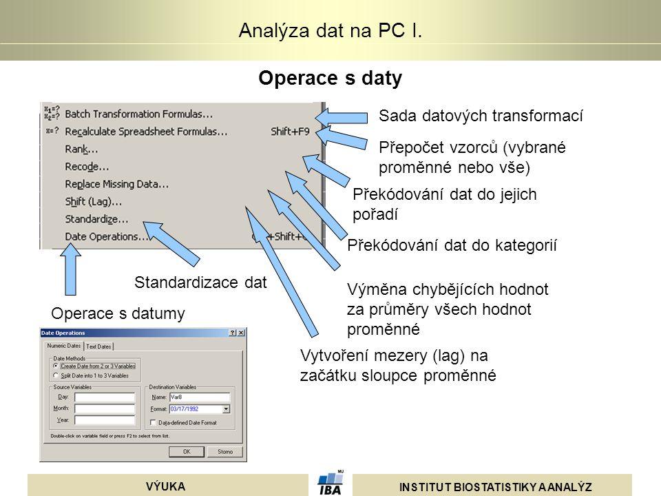 Operace s daty Sada datových transformací