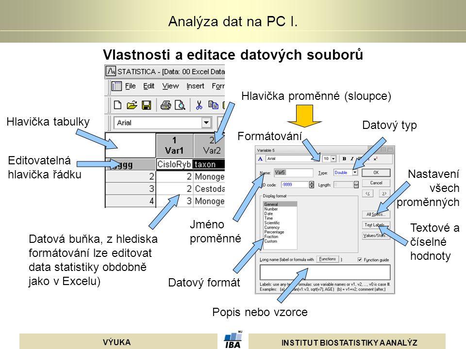 Vlastnosti a editace datových souborů