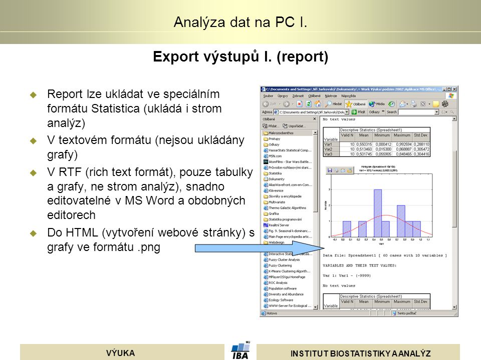 Export výstupů I. (report)