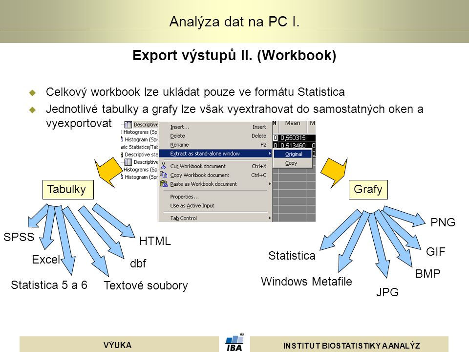 Export výstupů II. (Workbook)