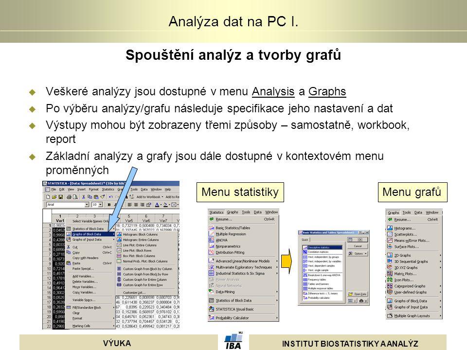 Spouštění analýz a tvorby grafů