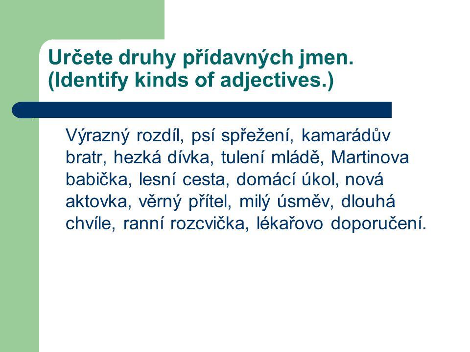 Určete druhy přídavných jmen. (Identify kinds of adjectives.)