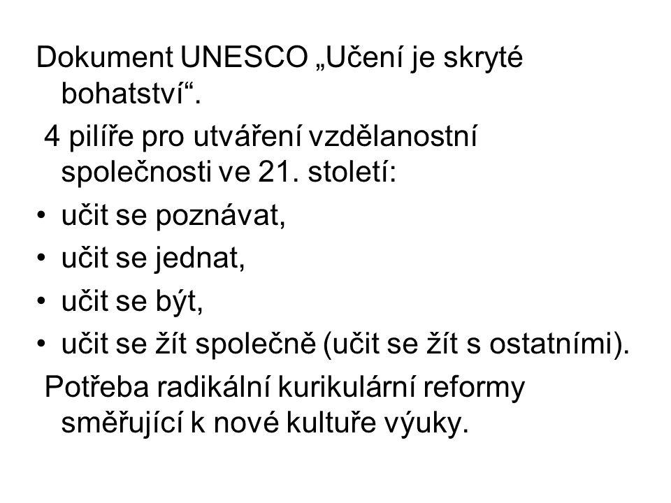 """Dokument UNESCO """"Učení je skryté bohatství ."""