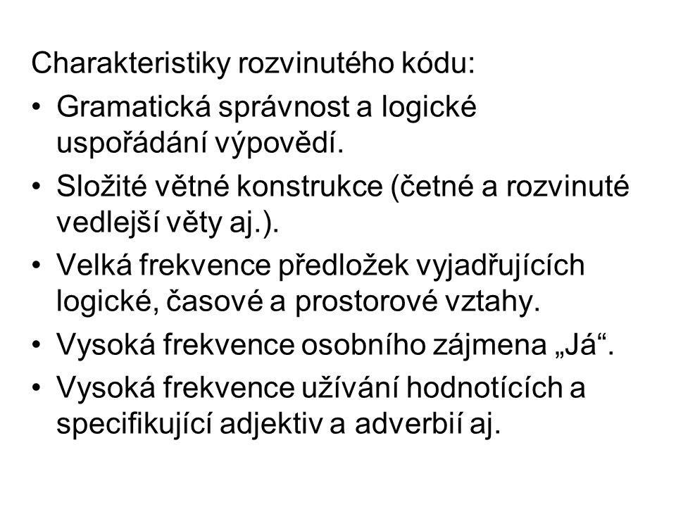Charakteristiky rozvinutého kódu: