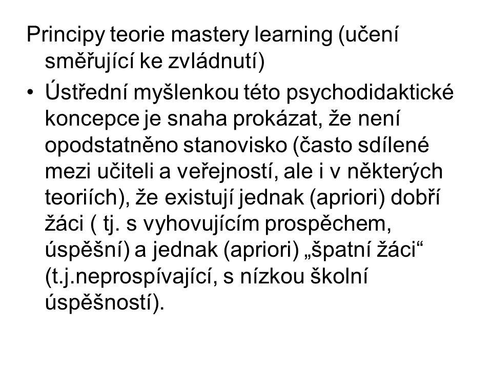 Principy teorie mastery learning (učení směřující ke zvládnutí)