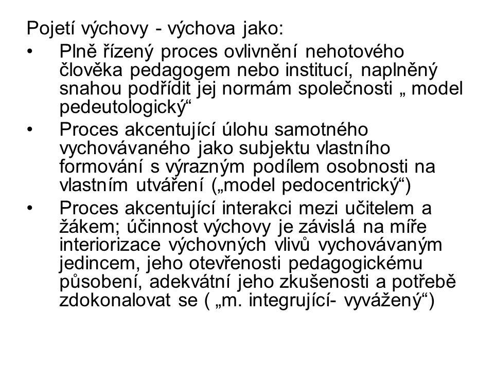 Pojetí výchovy - výchova jako: