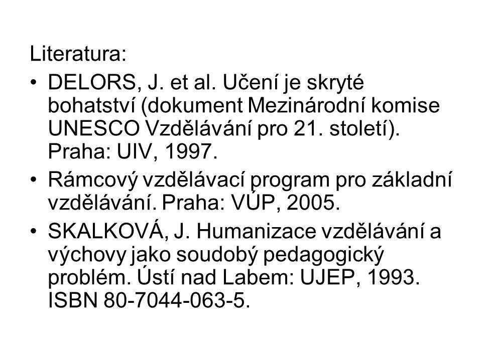 Literatura: DELORS, J. et al. Učení je skryté bohatství (dokument Mezinárodní komise UNESCO Vzdělávání pro 21. století). Praha: UIV, 1997.