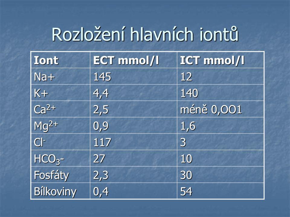 Rozložení hlavních iontů