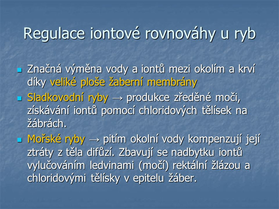 Regulace iontové rovnováhy u ryb