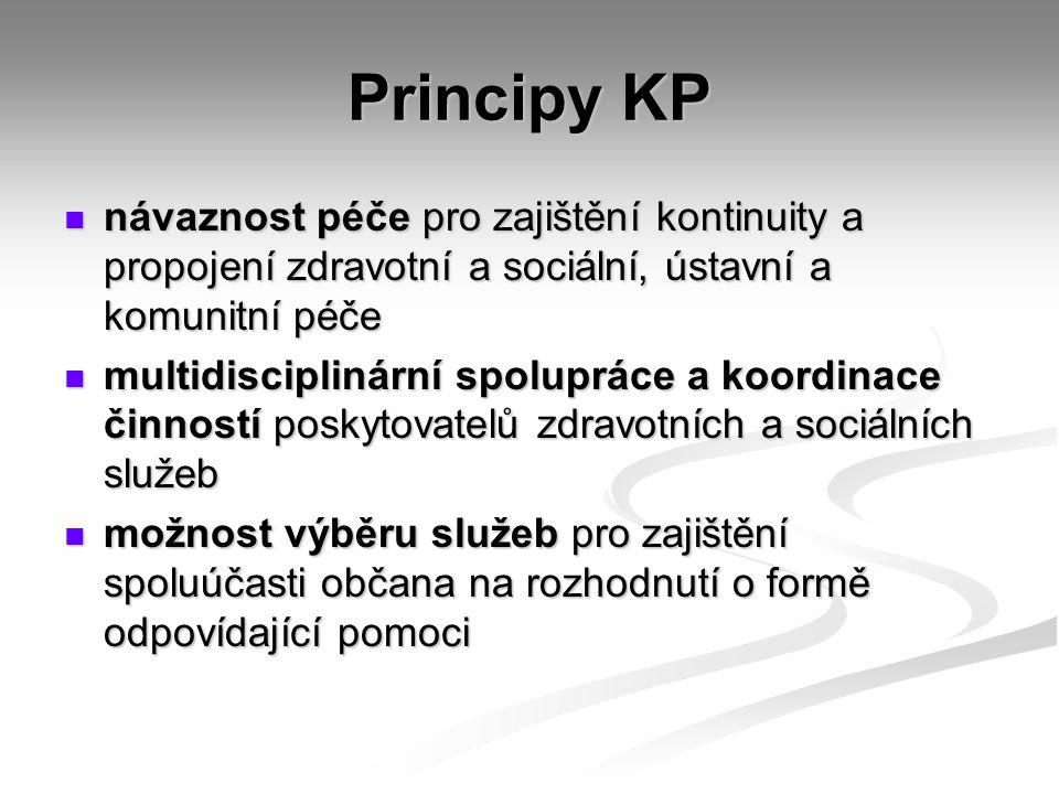 Principy KP návaznost péče pro zajištění kontinuity a propojení zdravotní a sociální, ústavní a komunitní péče.