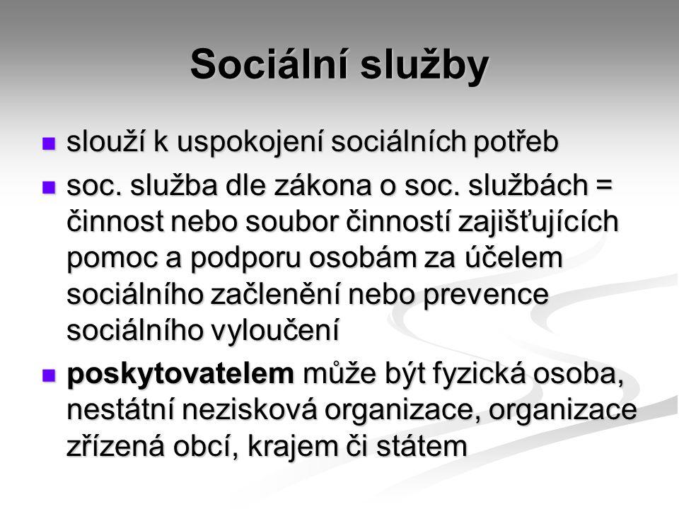 Sociální služby slouží k uspokojení sociálních potřeb